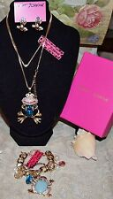 3PC BETSEY JOHNSON STUNNING CRYSTAL BLUE FROG NECKLACE FROG EARRINGS FROG BRAC
