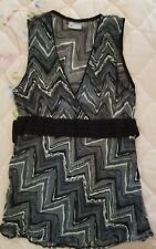 Grey black white silver top blouse with back tie size 12