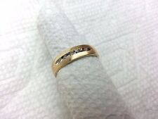 14K YELLOW GOLD FIVE ( 5 ) ROUND DIAMOND SET BAND RING SIZE 8.5, 3.3GRAMS