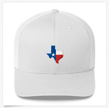 67d862513049b Lone Star State of Texas Outline Red White and Blue Flag Trucker Snapback  Hat