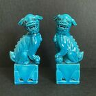 Vintage pair of chinese turquoise blue porcelain Foo Dog Statue