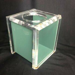 Vintage Mid Century Thick Lucite Tissue Box Holder Green
