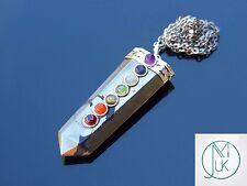 Pyrite 7 Chakra Flat Natural Gemstone Pendant Necklace 50cm Healing Stone