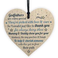 Godparents Wood Heart Godmother Godfather Gift Novelty Christening Card Keepsake