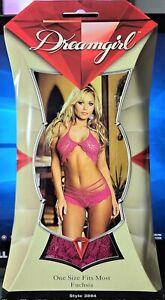 Dreamgirl Style 3894 Fuchsia Stretch Lace Sleepwear Bra Top & Matching Strappy S