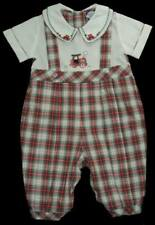 Boys CARRIAGE BOUTIQUES Red & Green Plaid TRAIN Romper 6m Holiday Onepiece