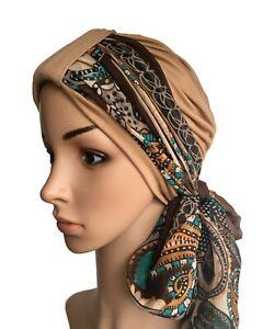 HEADWEAR FOR HAIR LOSS 2 PIECE CAMEL TURBAN & SCARF, CHEMO HAT, ALOPECIA