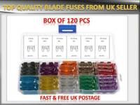 120Pcs Mini Auto Blade Fuses Assorted Car Van Fuse Replacement 5 10 15 20 25 30A