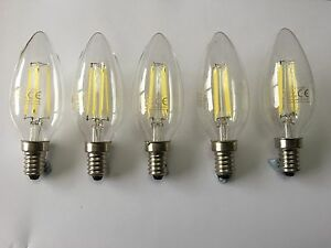 5 PACK OF LED E14 CANDLE FILAMENT LAMP 4W C35 6000K TRUE DAYLIGHT OUTPUT