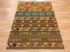 Handwoven Antique look Tribal Kilim Blue Rusty 100% Wool Rug 122x181cm 50% OFF