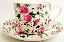 Ivy Rose Pink Large Cup & Saucer Bone China Pink Roses Breakfast Set Decorate UK