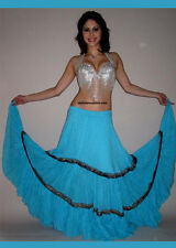 Professional Bellydance Tribal Belly Dance Bellydancing Blue Tribal Skirt 7594