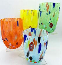 """ARLECCHINO"" MURANO STEMLESS WINE / OLD FASHIONED GLASSES - SET OF 4 - PASTEL"
