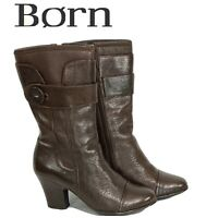 Born Mid Calf Leather Boots Womens Size 6.5 Brown