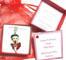 Red Posh Frock Betty Boop Charm Pendant Necklace in Personalised Gift Box