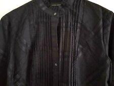 New listing New York & Company Top Shirt M Medium Black Pintucks Victorian Style Half Sleeve
