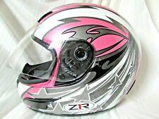 Z1R Women's Full Face Pink & Silver Glitter w Stars Motorcycle Helmet Snell DOT