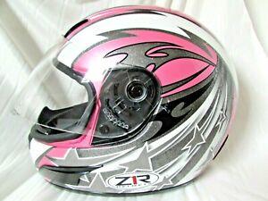 Snell Z1R Women's Full Face Pink & Silver Glitter w Stars Motorcycle Helmet