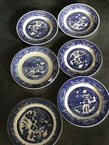 vintage mismatched dinner plates Blue/white Set Of 6 Royal China/Johnson bros