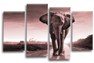 """ELEPHANT SUNSET CANVAS WALL ART PICTURE BROWN GREY PINK SPLIT MULTI PANEL 44x27"""""""
