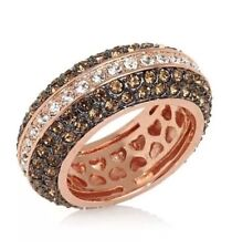 New! Joan Boyce Rosetone Bicolor Eternity Crystal Pave Ring White & Brown Size 7