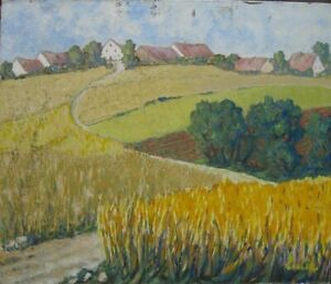 Oil Painting Yellow And Green Fields With Village IN Background Housetops Acre
