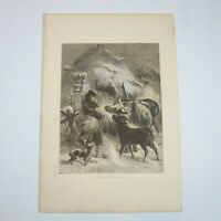 Antique 1873 Wood Engraving Print Christmas in the Fields, John S. Davis, Aldine