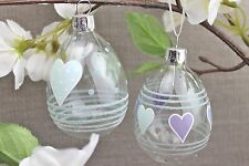 GISELA GRAHAM EASTER CLEAR GLASS EGG WITH HEARTS DECORATION X 2