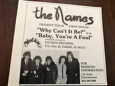 1978 Vintage 5X5.5 Album Promo Print Ad For The Names 1St Single Why Cant It Be?