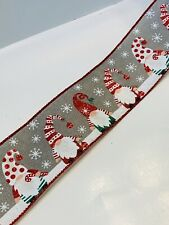 5 Yds - 2 1/2� Wired White & Red Glittered Gnomes On Grey Faux Burlap Ribbon