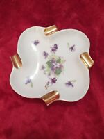 "Vintage Porcelain China Ashtray W Gold Cigarette Rest 6""X6"""