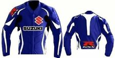 SUZUKI MOTORCYCLE COWHIDE LEATHER JACKET SAFETY ARMORS SIZE 4XL