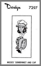 Vintage Mail Order Hat Bonnet Sun Bonnet Fabric Material sewing pattern #7297