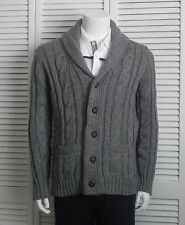 NEW Mens SIZE XL ALPACA Gray Grey Shawl Collar Cable Knit Cardigan Sweater PERU