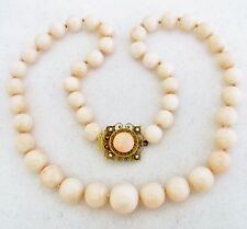 """Antique? 20"""" Necklace w/ 14mm Graduated Pink Coral Beads & 14K Gold Clasp, 73.4g"""