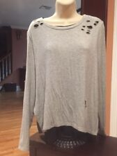 Generation Love Solid Gray W/ Under Layer Long Sleeve Modal Blend Top M