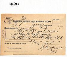 HL341 1891 GB Manchester Sheffield & Lincs Railway GOODS IN BAD ORDER Memo