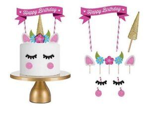 Cake Topper-UNICORN Horn, Ears & Eyelashes Glitter Birthday Party-NEW-EB44