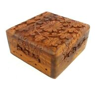 Floral Hand Carved Wood Trinket Box 3.5 x 3.5 Wooden Jewelry Box Pet Urn