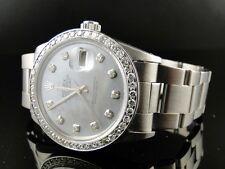 Mens Rolex Datejust 16014 Grey Dial Genuine Diamond Watch 2.15 Ct