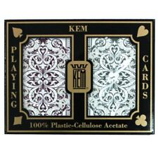 2 Cut Cards +  Kem Jacquard Burgandy Green Bridge Regular Index Playing Cards
