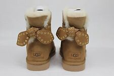 UGG AUSTRALIA CAMERON BOW CHESTNUT SUEDE SHEEPSKIN BOOTS SIZE 6 US