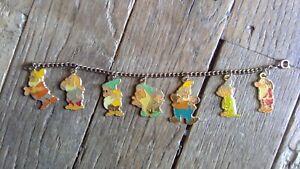 ✨ Disney Snow White & Seven Dwarfs Charm Bracelet Gold Tone Enameled Charms ✨