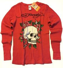 Don Ed Hardy Red Thermal SZ S  Long Sleeve Shirt Tattoo Skull Roses Cotton NWT