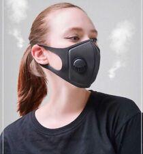 3 Pack Unisex Washable Re-Usable Black Face Masks - with Breathing Valve