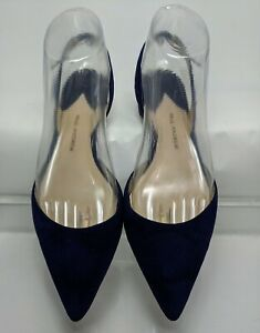 Paul Andrew Rhea 15 Sling Back Navy Blue Suede Flat Pointed Toe Size 38.5