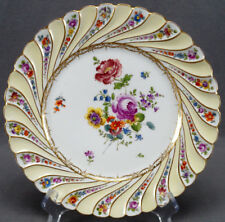 Hermann Ohme Dresden Hand Painted Floral Yellow & Gold Fluted Plate C. 1882 - 19