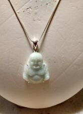 """LUCKY Rub my tummy Dyed JADE Buddha Carved Green Jade 18"""" Necklace Sterling 925"""
