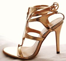New Authentic Guess Faux Leather Sandals By Marciano Pryde Light Gold Size 7.5