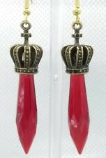 ruby color long Crystal Earrings Royal Crown with